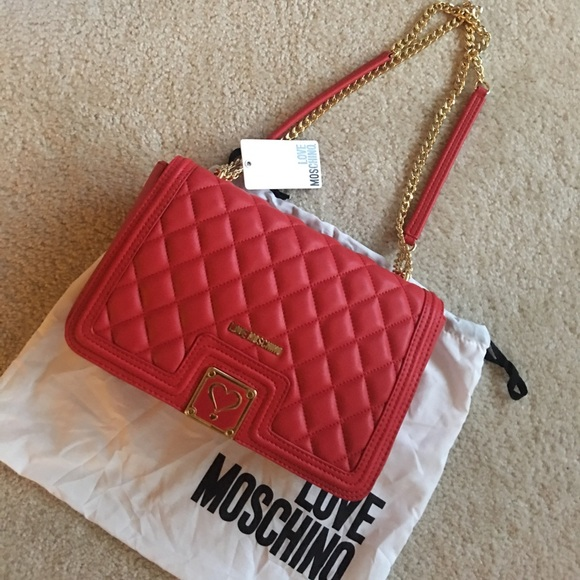 c204c98ee11 Love Moschino Bags | Nwt Red Quilted Flap Shoulder Bag | Poshmark